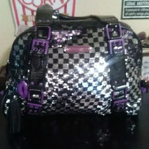 Betsey Johnson purse. Black, Silver, Purple.